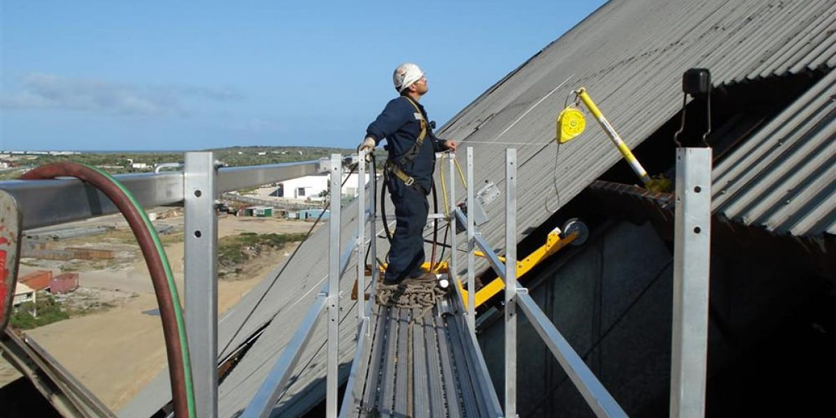 steep slope roofing project at valero aruba